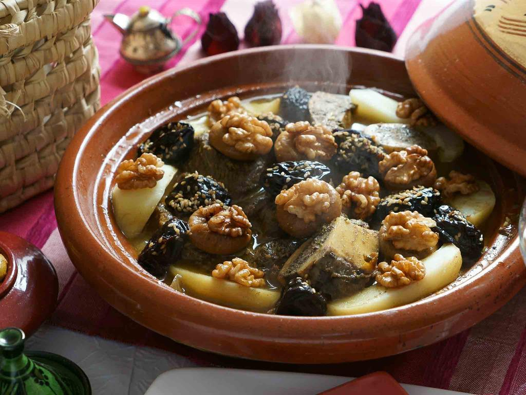 Yummy...Beef tajine with prunes and  walnuts