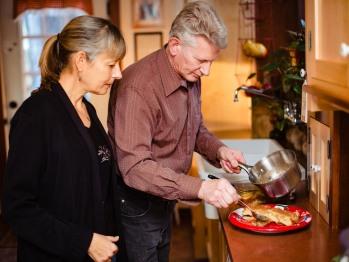 Your hosts, Jerry & Cecelia, preparing breakfast.