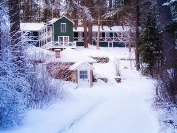 Winter view of the Lodge Building