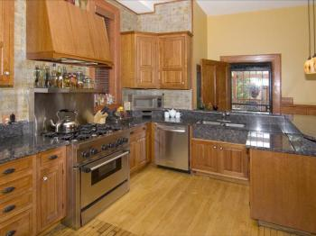 Huge Informal & Rustic Kitchen, Cherry Cabinets & Restored Wood Floor