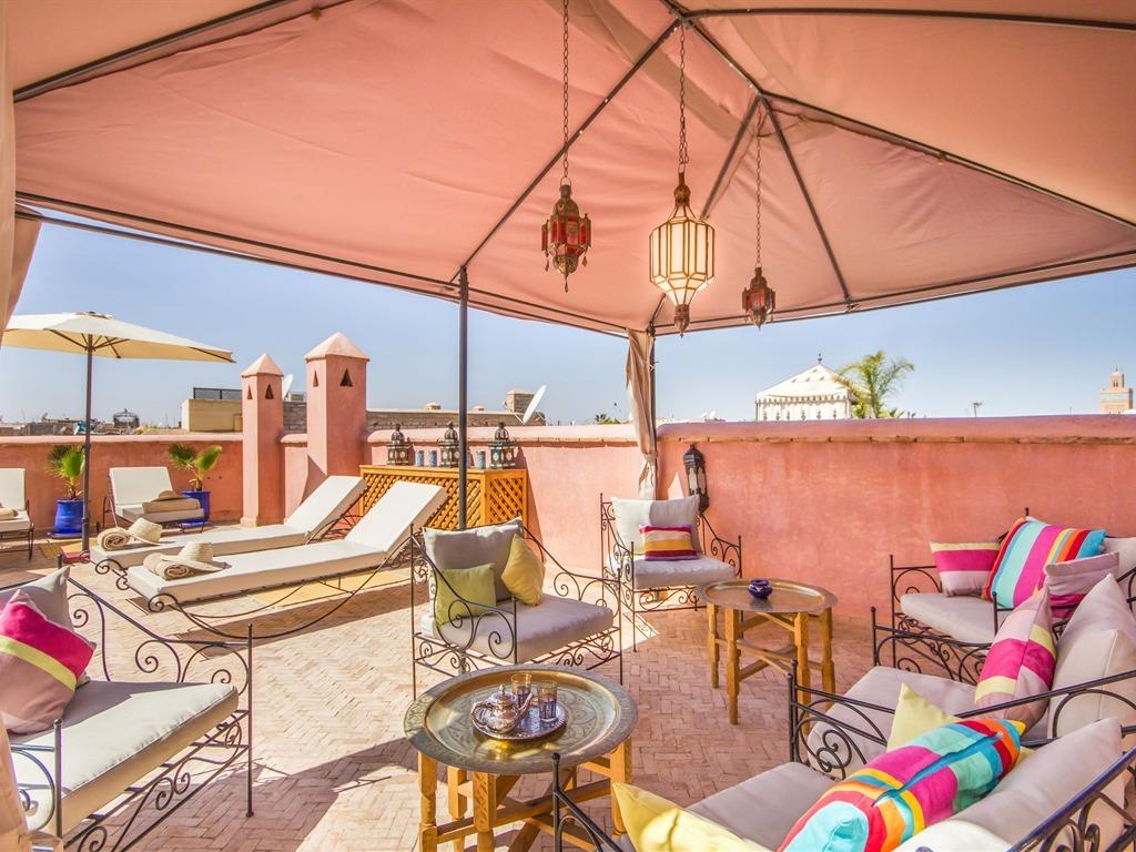 Deco Salon Bleu Roi arabian riad marrakech, marrakech, morocco - toproomscom