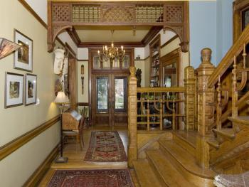 Lobby/Entrance with Oak Wainscoting Staircase