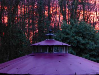 Waterfall Pagoda Yurt at sunset