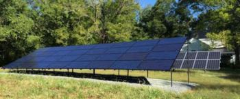 Solar panels, part of 48-panel array.