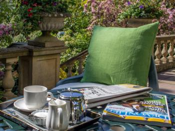 Enjoy a cup of tea on the terrace in the sunshine