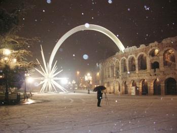 Arena di Verona innevata