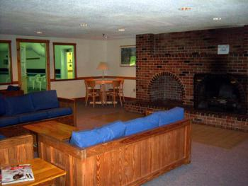 Fall Line common room overlooking indoor heated pool & fireplace, Brookside has outdoor heated pool & common room with large fireplace. Very family friendly.