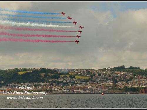 During the Torbay Airshow 2016, the Red Arrows right in front of the Channel View Hotel - Thanks and credit to Chris Slack Photography
