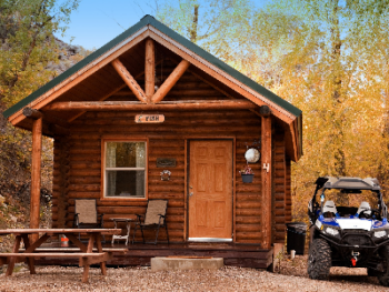 This is what the outside of a cabin looks like.  There are 5 cabins.  All offer the same amenities.  Main difference is the decor.  Actual cabin will be assigned before check in.