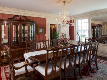 Formal Dining Room with Fireplace and Chinese Chippendale Mouldings