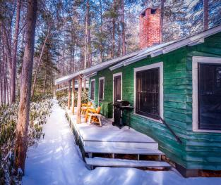 Winter view of the Ridge Cabins