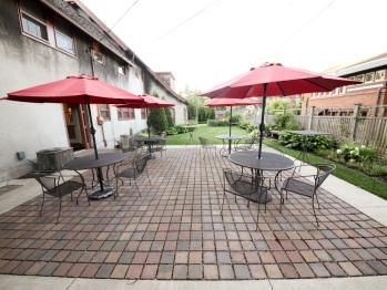 Back patio and garden area