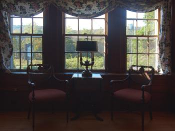 Seating in the library of the main house