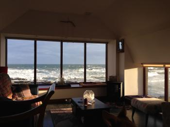 Pew with a View has floor to ceiling storm proof windows so relax and enjoy the spectular and everchanging views