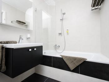 Une baignoire et un meuble lavabo pour cette salle de bain moderne