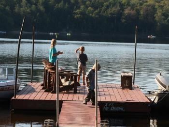 Fishing from Journey's End Dock on Long Lake