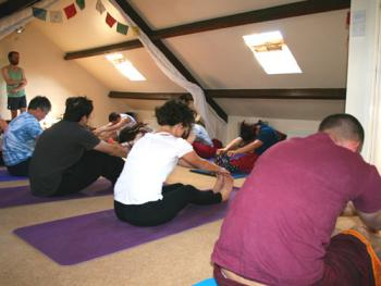 Guests enjoying a yoga session in the relaxation studio