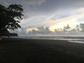 Beach at sunset after an afternoon rain