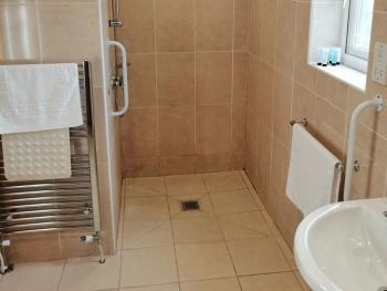 Disabled bathroom with walk-in shower, grab rails (no bath)