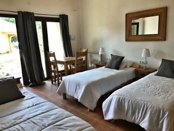 Garden suite with 3 individual beds, shower room and fridge. This suite can be adjoining with a garden suite with a double bed.