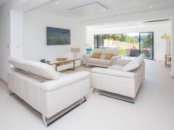 Lounge with 2 x 3 seater leather sofas