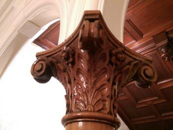 Some of the impressive carved-wood detailing in the lobby