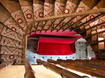 The staircase leading to the bedrooms in the Manor House