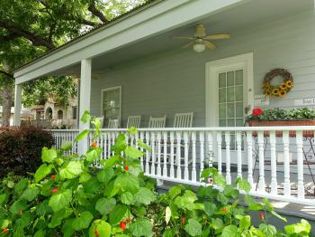 Texas Cottage private front porch & entrance