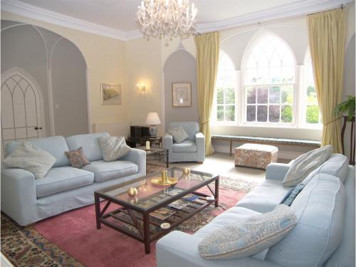 Luxurious west-facing C18 drawing room at the top of the pele tower - ideal for long summer evenings