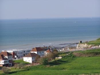 La vue sur la mer et la plage de Pourville
