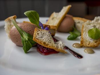 Pink peppercorn duck parfait