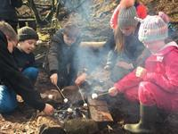 Forest Fun Holiday Club  During the school holidays Catherine runs a holiday club down in the forest for local children. Guests staying in the pods are also very welcome to join our session which runs from 10am - 3pm at a cost of £20.  We build shelters, play games and do lots of natural art and exploring in the fores plus enjoy a camp fire.