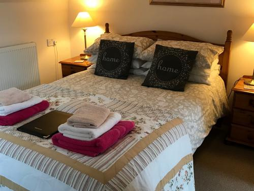 This double bed is part of the family room which also has 2 singles its ensuite with shower and tv and tea and coffee tray hairdryer and iron and ironing board