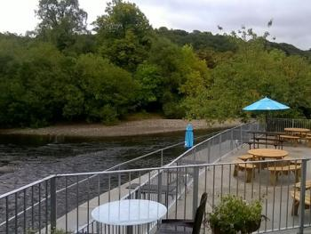 Outside seating at the Meeting of the Waters
