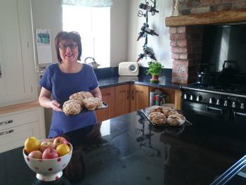 Sally with homemade bread for breakfast