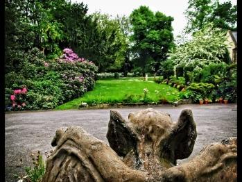 Gargoyle and West garden