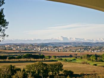 view on the Pyrenees from the breakfast area-terrace