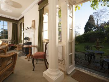 The south facing sitting room and terrace - perfect for a very special Cornish Cream Tea