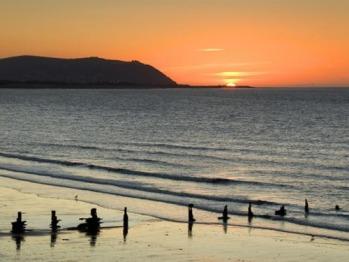 Sunset over Blue Anchor beach