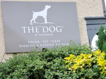 The Dog at Wingham - The Dog at Wingham sign on Canterbury Road, leads to our car park