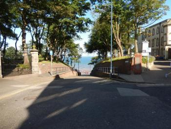 Looking down Cargate Hill towards the sea from Filey Town centre.