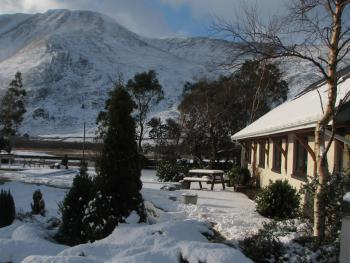 View - wintry scene at the lodge