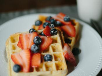 Sourdough waffles with fresh berries