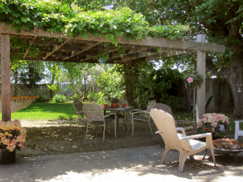 Vintner's tranquil backyard for relaxing and enjoying a glass of wine.