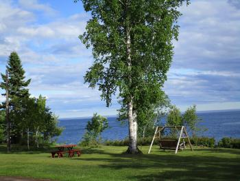 Lake side on our large grassy grounds overlooking Lake Superior