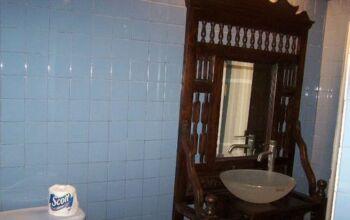 cypress vanity in bathroom