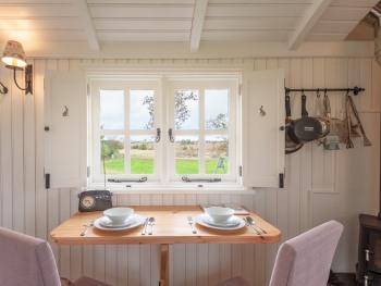 Inside Leveret, our luxury shepherd's hut