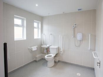 The wet room in the easy access suite is fitted with alarm pull chord in case of emergencies