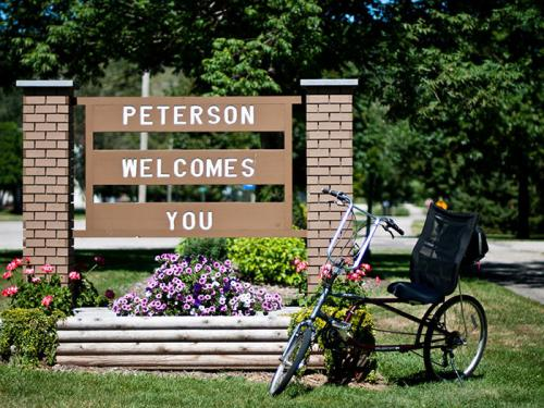 Peterson City Welcome Sign near the Campground