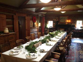 Dailey Cabin set up for a wedding reception dinner.